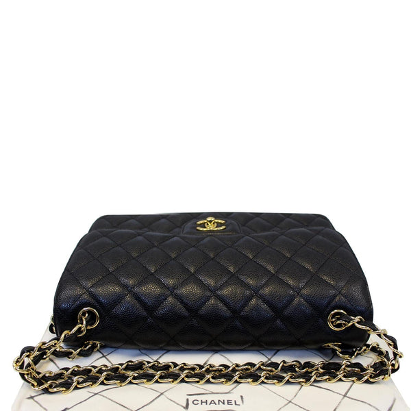Chanel Double Flap Classic Jumbo Caviar Shoulder Bag - leather