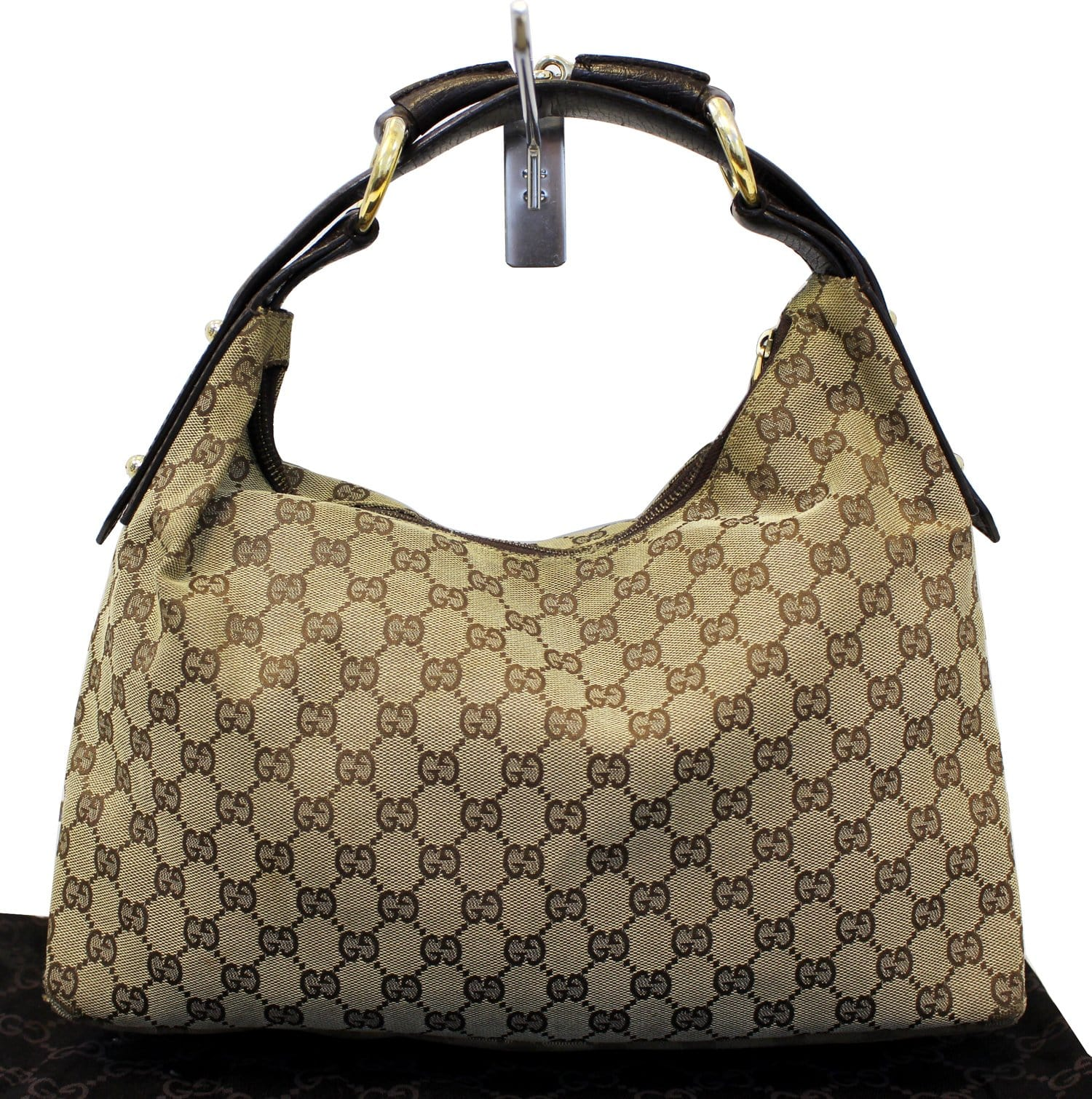 33696b10f83e93 GUCCI Beige GG Canvas Medium Horsebit Hobo Bag
