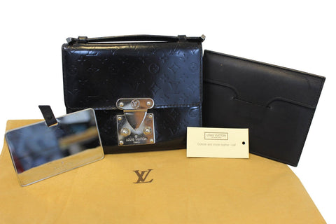 LOUIS VUITTON Monogram Mini Glace Anouchka PM Wallet Purse Black - Sale