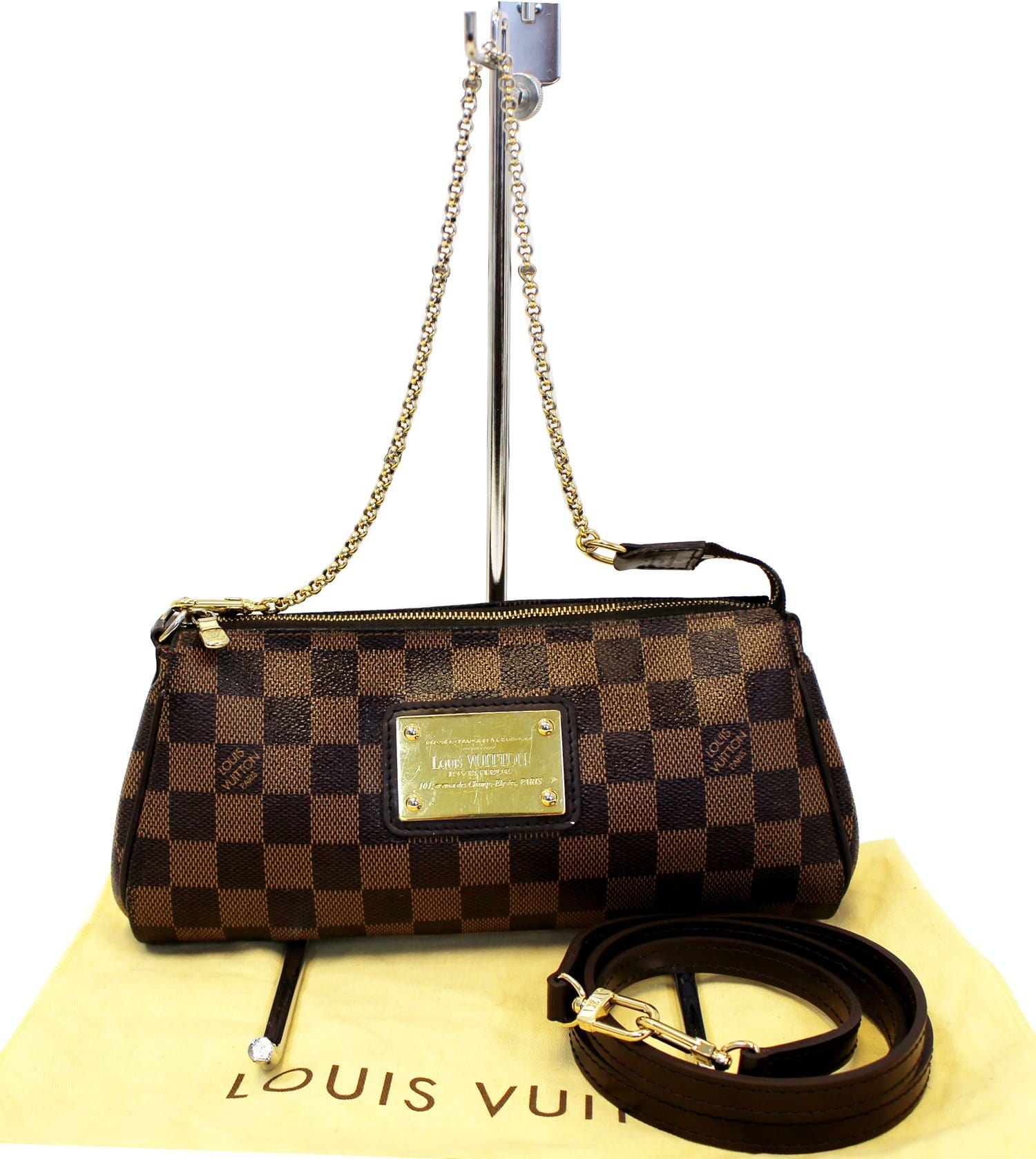 LOUIS VUITTON Damier Ebene Eva Accessories Pouch Crossbody Bag 86df58562f15c