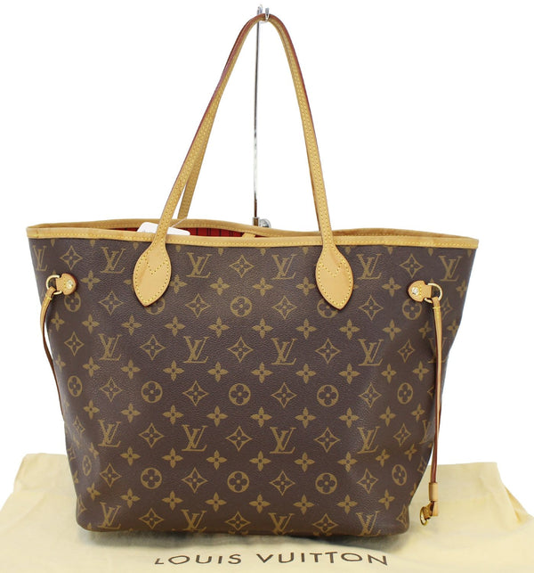 Authentic LOUIS VUITTON Monogram Canvas Red Neverfull MM Tote Bag TT1475