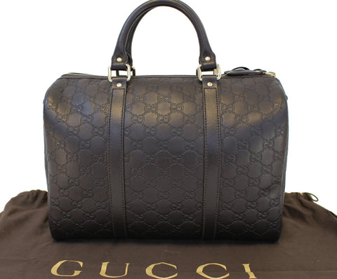 Authentic GUCCI 265697 GG Guccissima Leather Chocolate Boston Bag TT1523