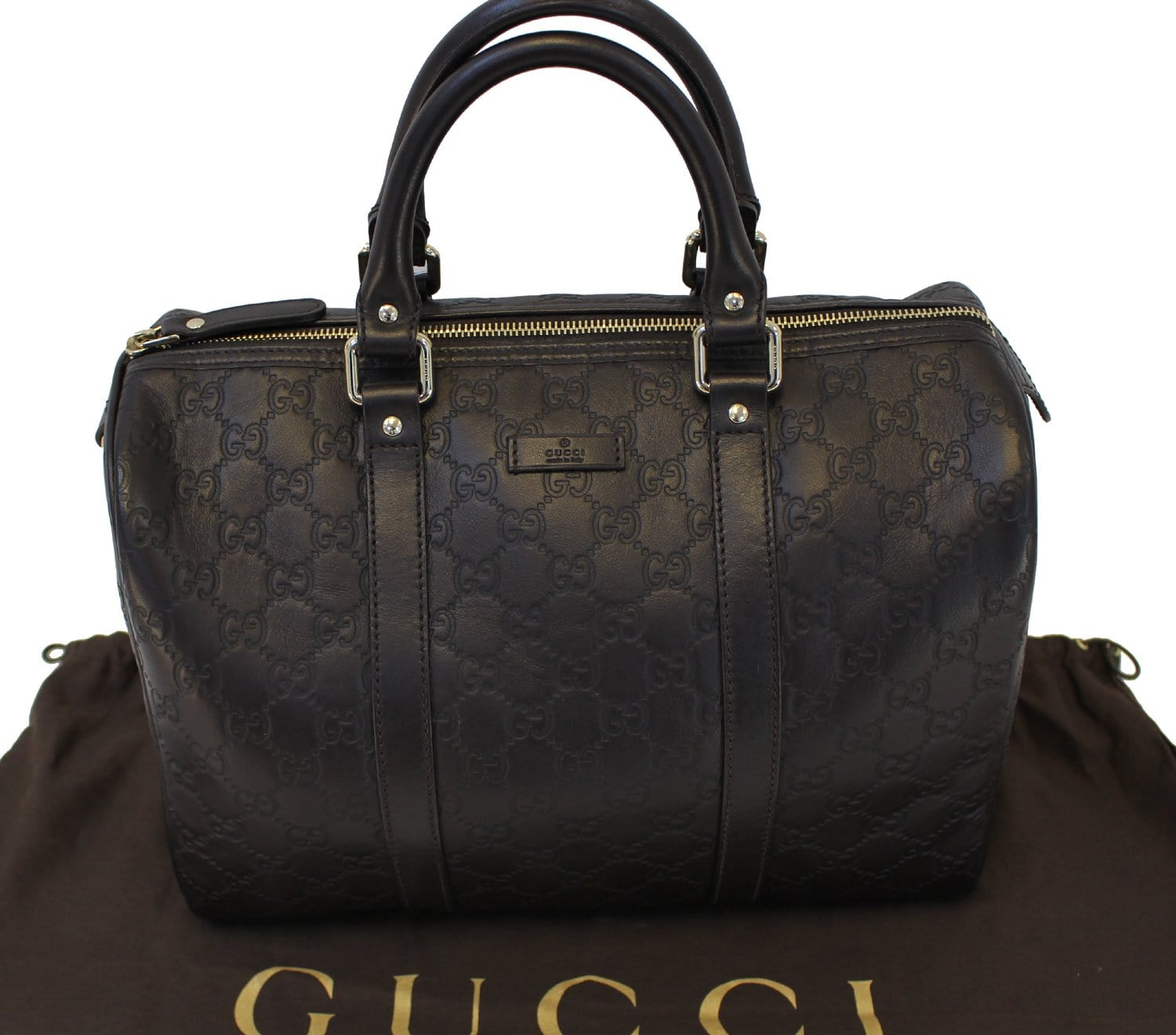 888a62002f6a Authentic GUCCI 265697 GG Guccissima Leather Chocolate Boston Bag TT15