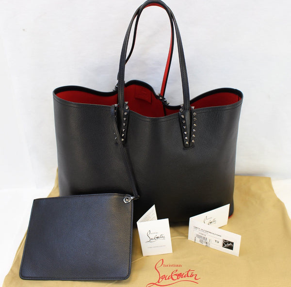 CHRISTIAN LOUBOUTIN Tote Bag - Cabata Studded Leather Bag - black