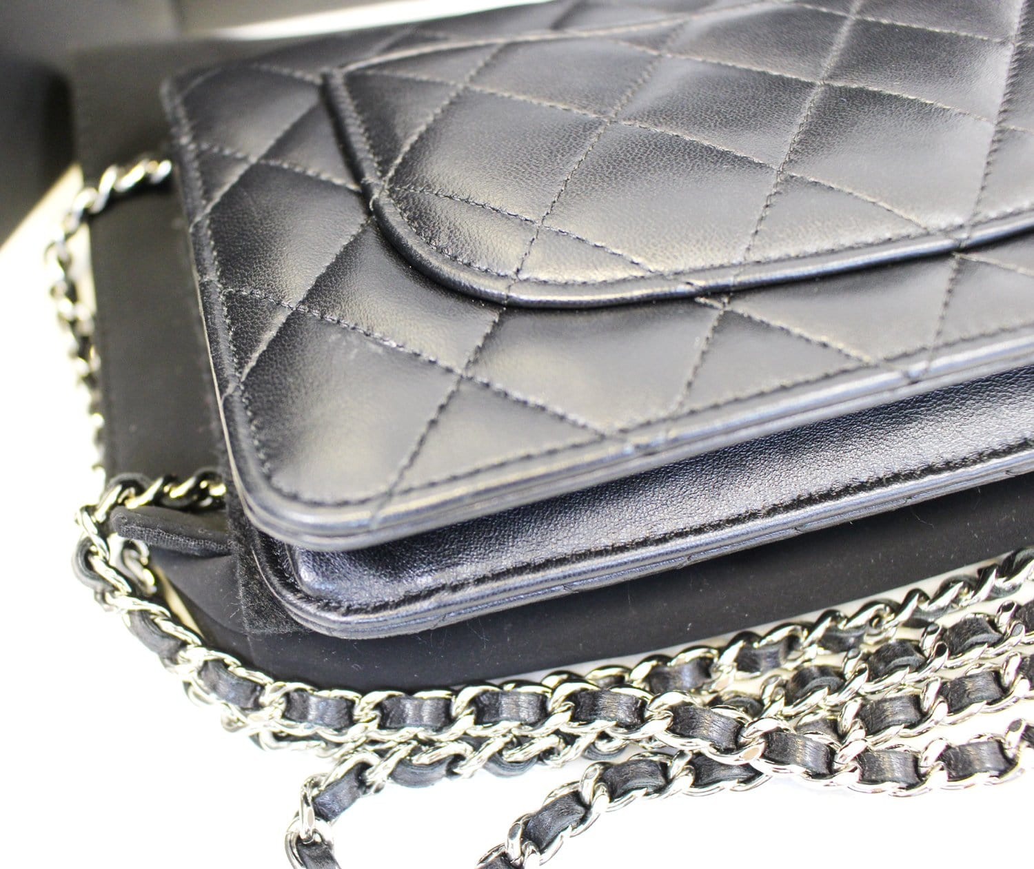 a0a64f3704766a CHANEL Black LambSkin Wallet On Chain WOC Clutch Crossbody Bag