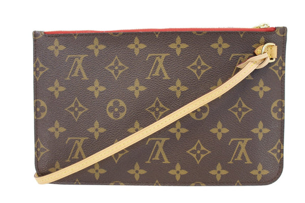 LOUIS VUITTON Monogram Canvas Red Pochette Pouch For Neverfull