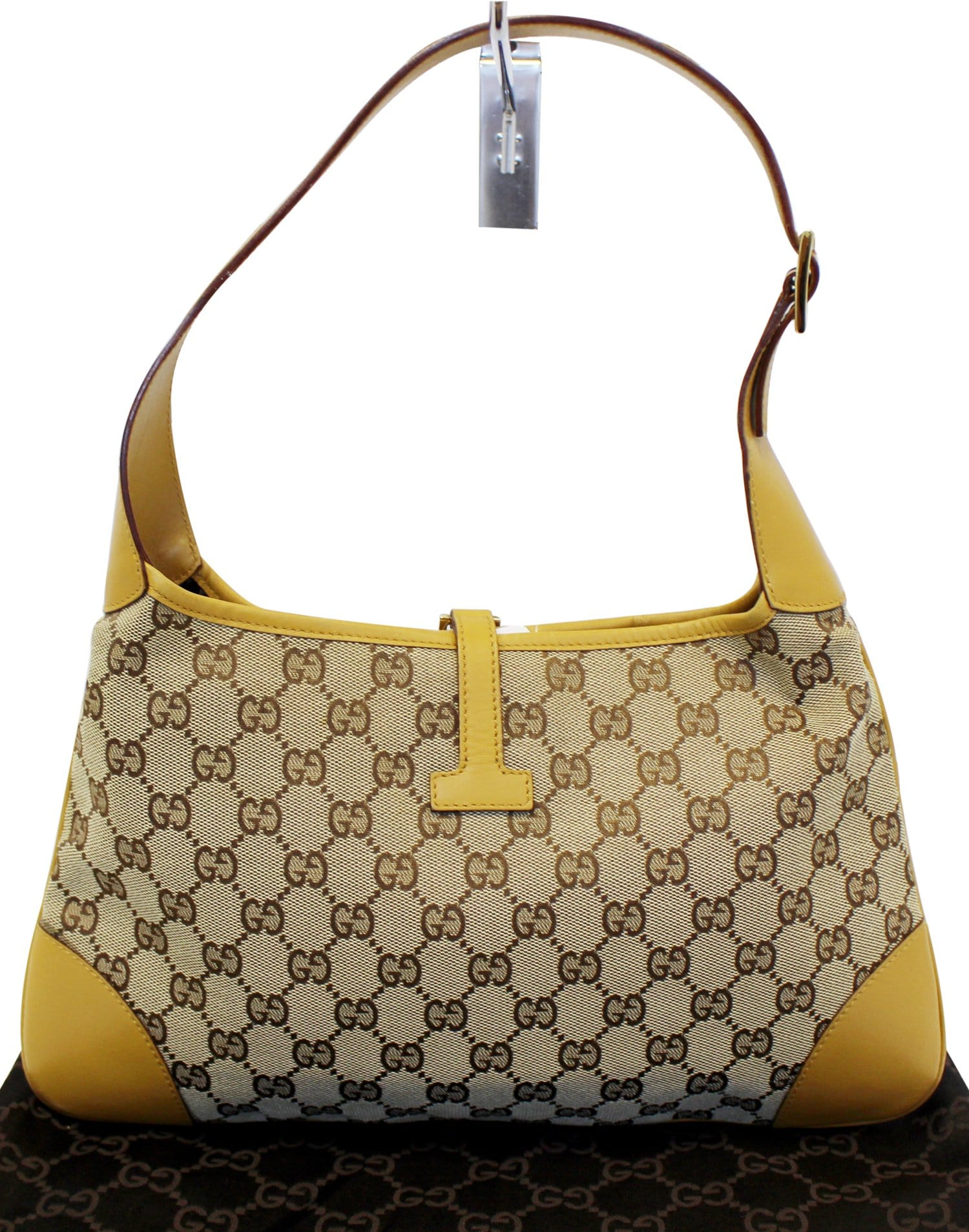 ed808a164727 GUCCI GG Canvas/Leather Jackie Shoulder Hobo Bag