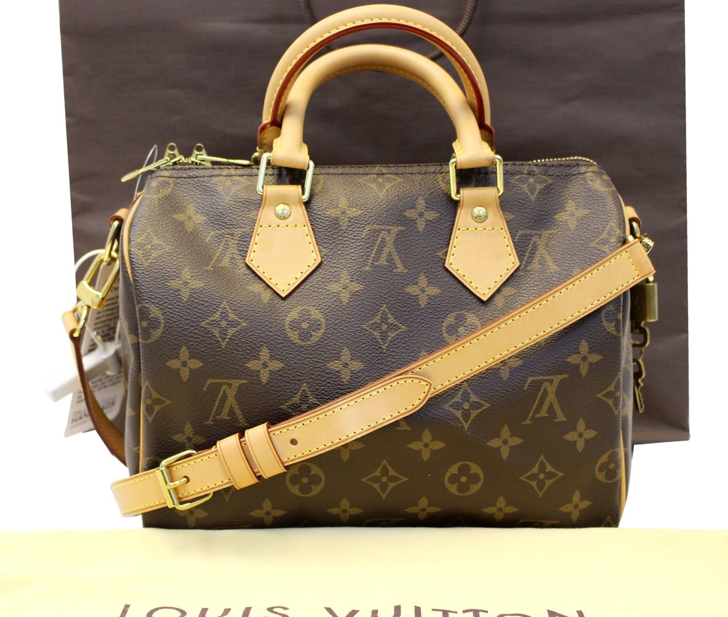 7c3ed2514470 Authentic LOUIS VUITTON Monogram Speedy 25 Bandouliere Satchel Bag TT1748