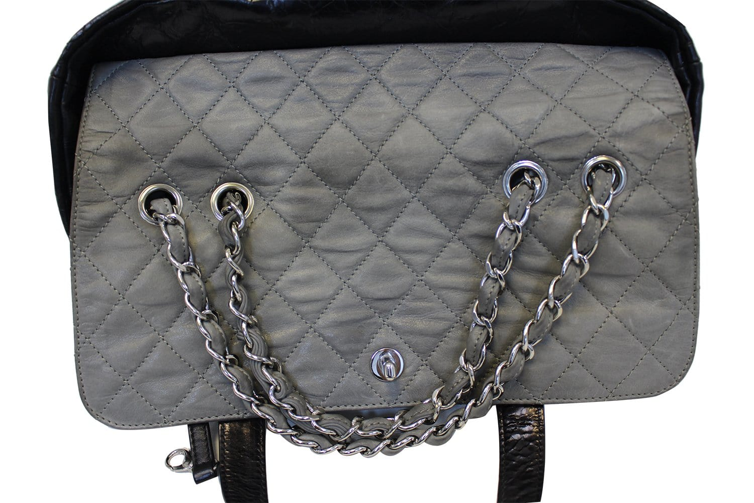 42ba55702c4b CHANEL Black Leather 2 Way Tote Bag