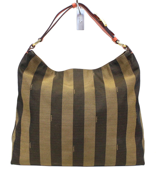 ff59574f539 FENDI Tobacco and Red Leather Pequin Stripe Canvas Hobo Bag