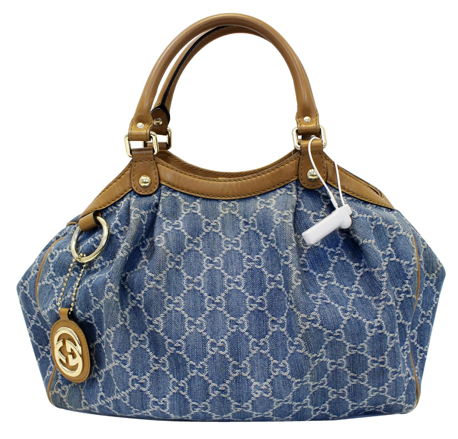 892165487d9a Authentic GUCCI GG Blue Denim Sukey Tote Shoulder Bag Gucci Sukey 211944  TT1800