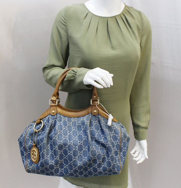 Authentic GUCCI GG Blue Denim Sukey Tote Shoulder Bag Gucci Sukey 211944 TT1800