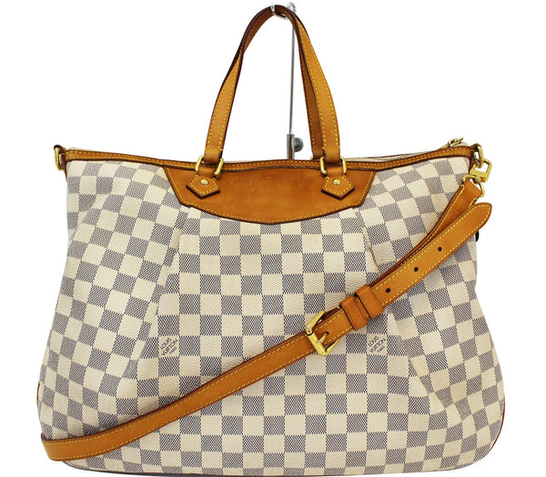 Authentic LOUIS VUITTON Siracusa GM Damier Azur  Shoulder Handbag E3309