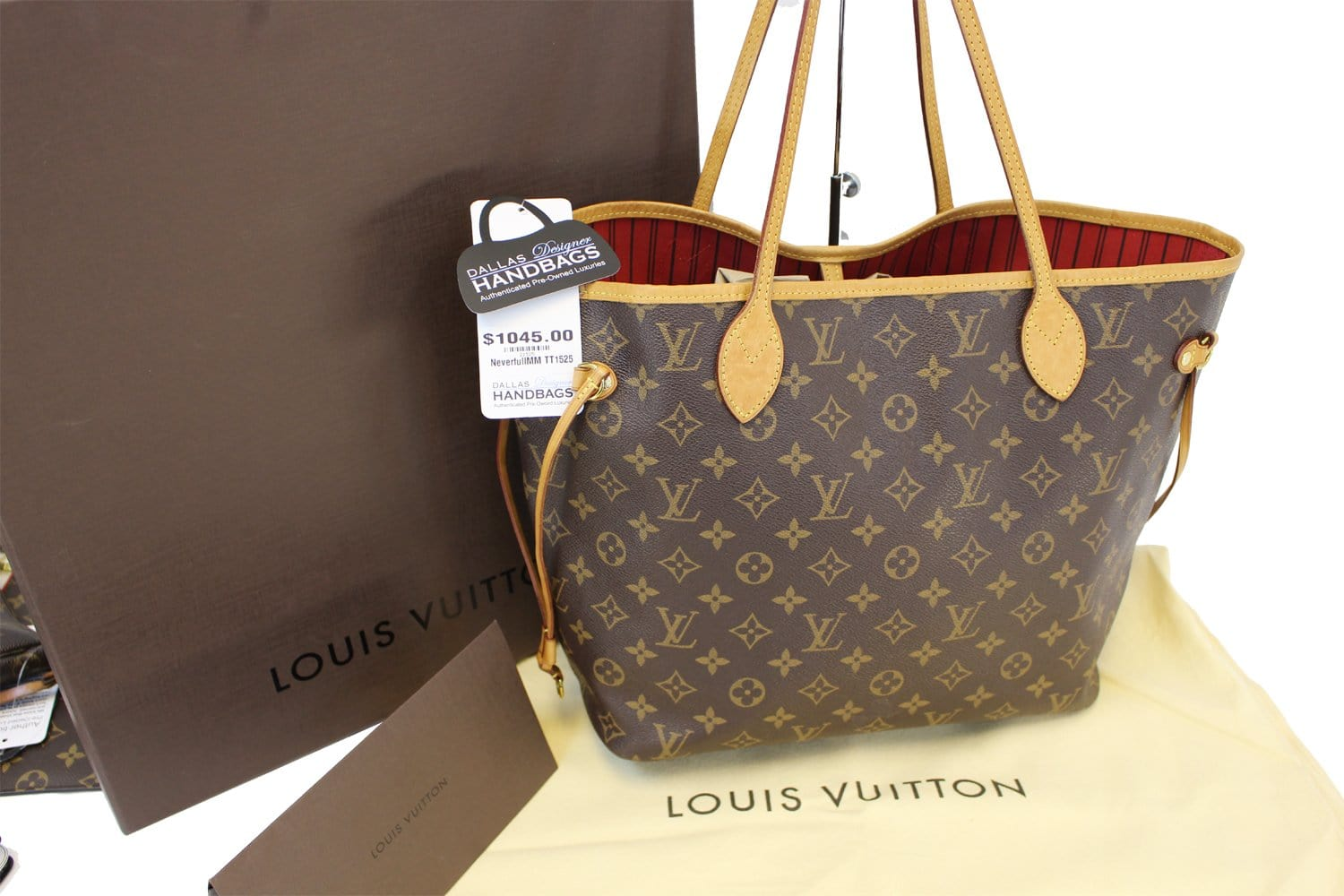 2385bc74f528 Authentic LOUIS VUITTON Monogram Canvas Red Neverfull MM Tote Bag TT1525