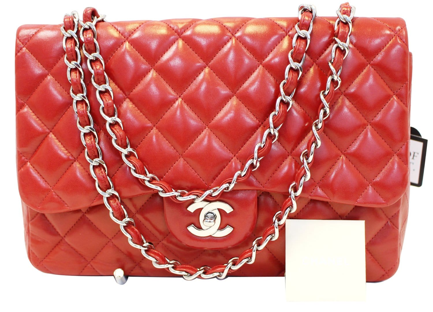 1f5e34dfb9d4 CHANEL Red Quilted Lambskin Leather Classic Jumbo Double Flap Bag