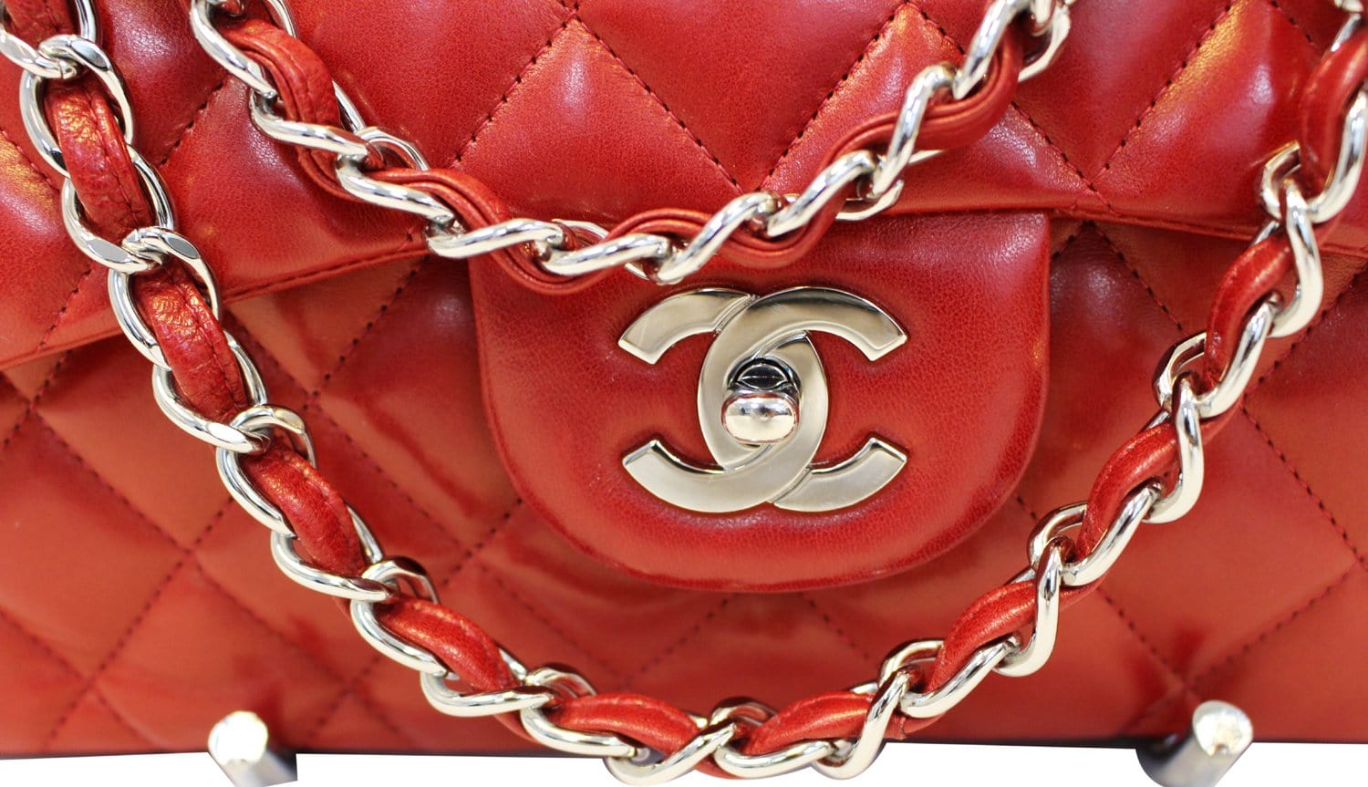 5950ae842972 CHANEL Red Quilted Lambskin Leather Classic Jumbo Double Flap Bag