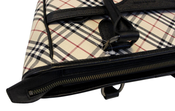 Burberry Shoulder Bag - BURBERRY Women Bag Check Plaid Jacquard - zip