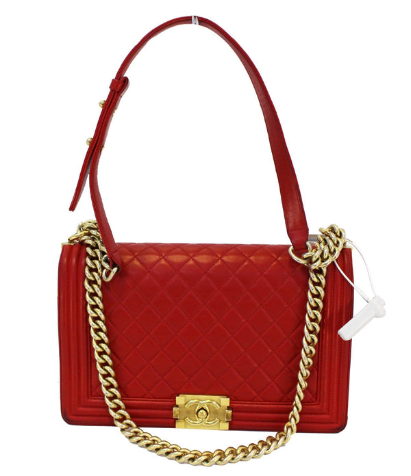 CHANEL Boy Bag - Red Glazed Quilted Leather Large