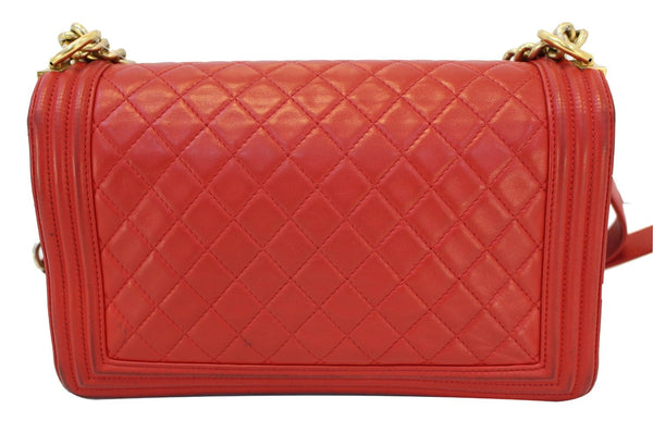 CHANEL Boy Bag - Red Glazed Quilted Leather Large - back view