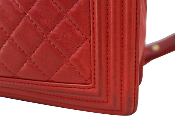 CHANEL Boy Bag - Red Glazed Quilted Leather Large - corner