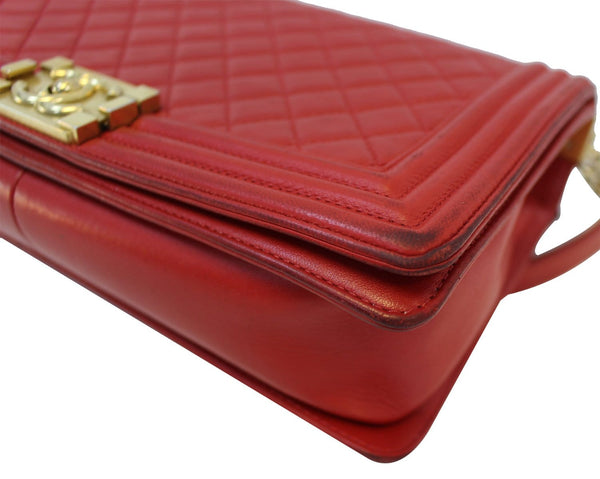 CHANEL Boy Bag - Red Glazed Quilted Leather Large - pure leather