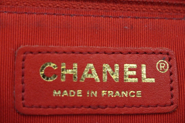 CHANEL Boy Bag - Red Glazed Quilted Leather Large - chanel logo