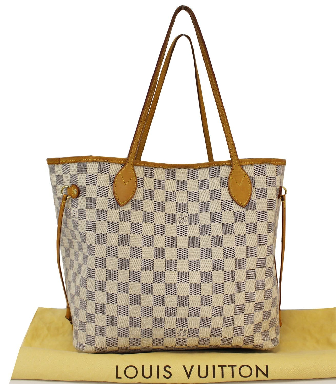 5639062877a LOUIS VUITTON Damier Azur White Neverfull MM Tote Bag