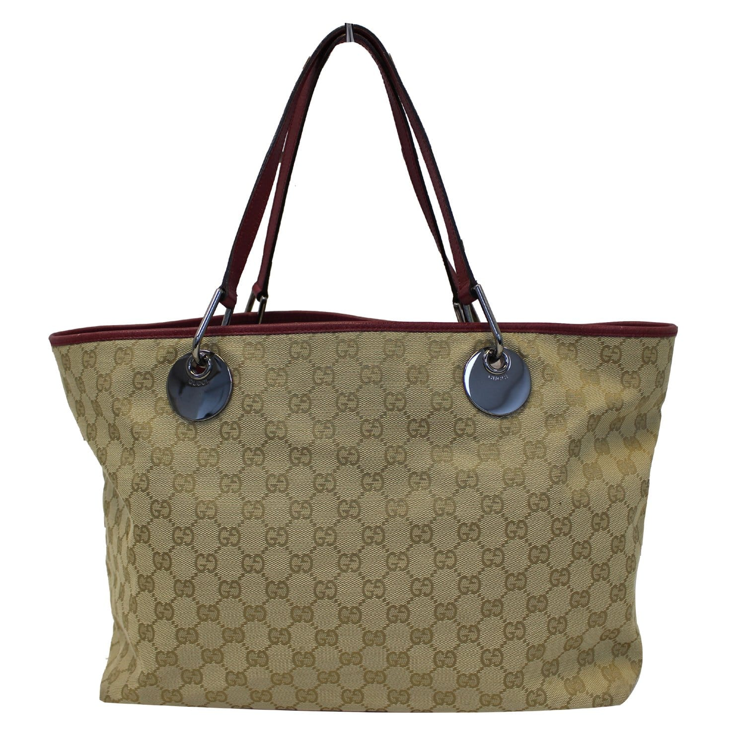 bdecd16d450b Authentic GUCCI Eclipse Beige Red GG Canvas Leather Tote Bag TT1830