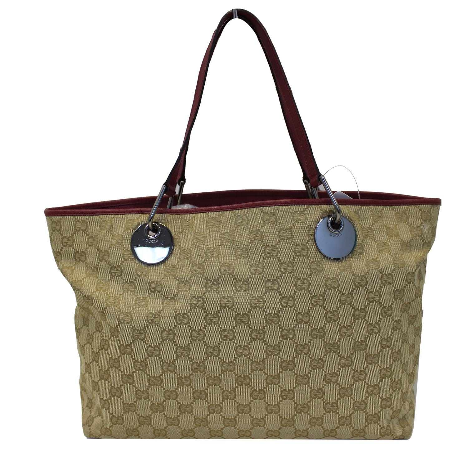 dbee1357e84 Authentic GUCCI Eclipse Beige Red GG Canvas Leather Tote Bag TT1830