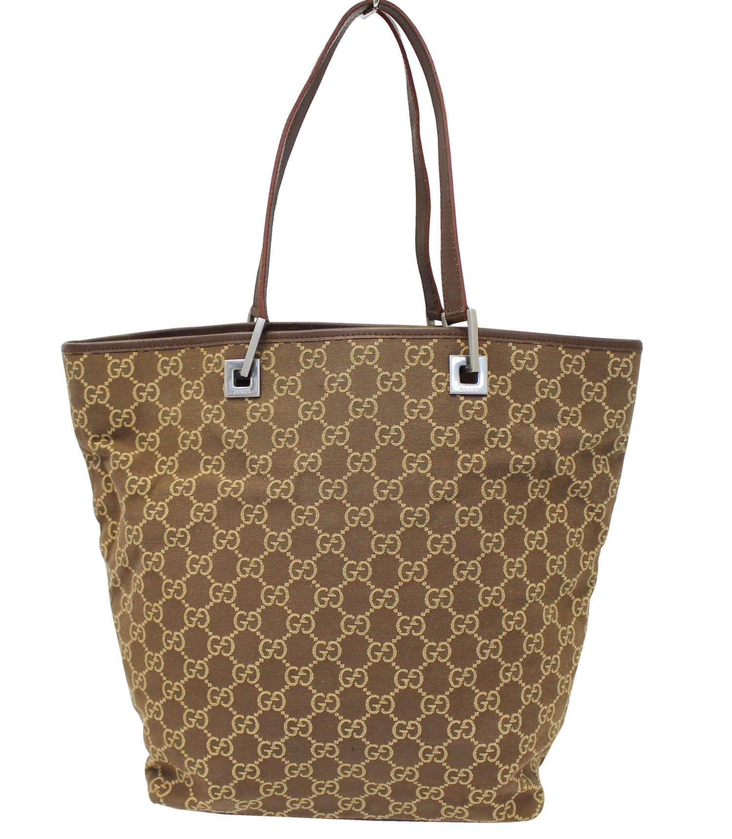9e13c7147bdf Authentic GUCCI Beige/Brown Monogram Canvas Tote Bag E3772