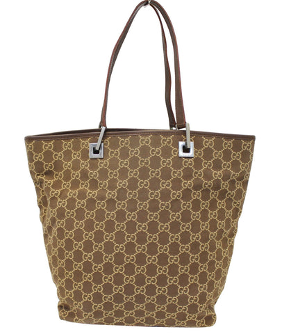 Authentic GUCCI Beige/Brown Monogram Canvas Tote Bag E3772
