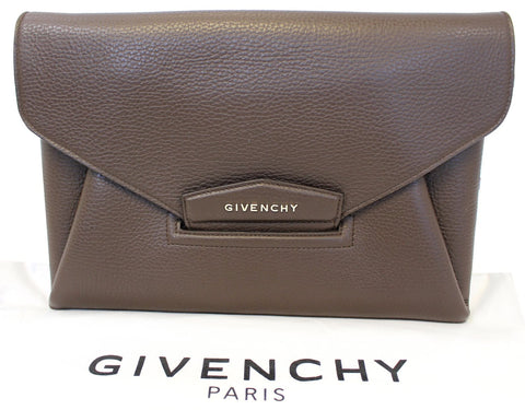 GIVENCHY Dark Brown Textured Leather Antigona Envelope Clutch