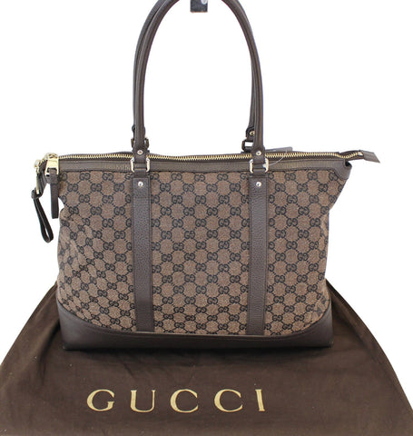 Authentic GUCCI GG Canvas 327793 Dark Brown Shoulder Handbag E3397