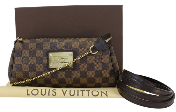 Authentic LOUIS VUITTON Damier Ebene Eva Clutch Crossbody TT1493