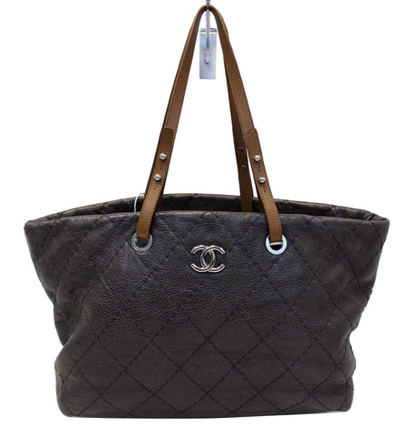 CHANEL Dark Brown Glazed Leather On the Road Tote Bag