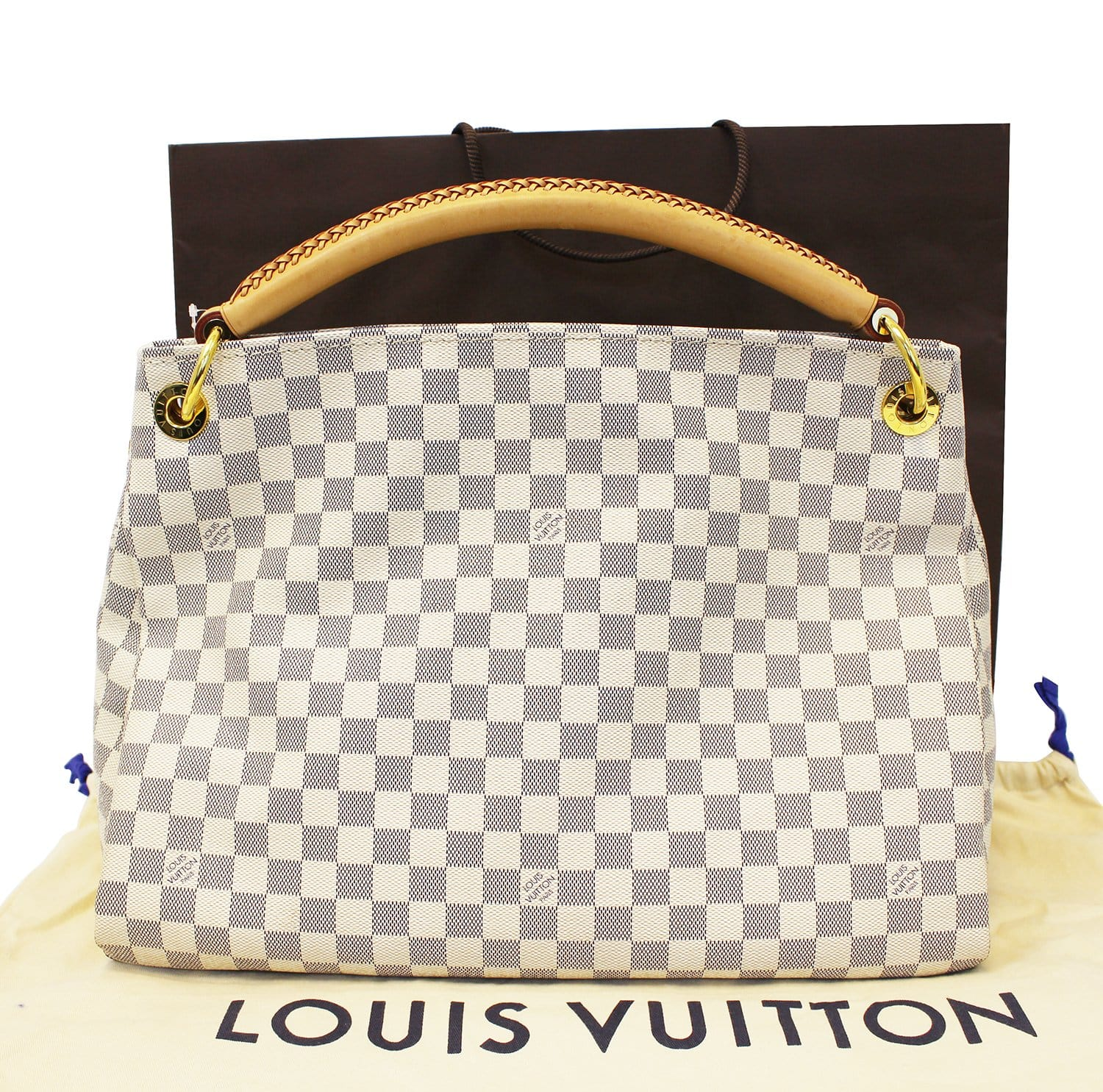 7754b0e59319 Authentic LOUIS VUITTON Artsy MM Damier Azur Shoulder Handbag TT1827