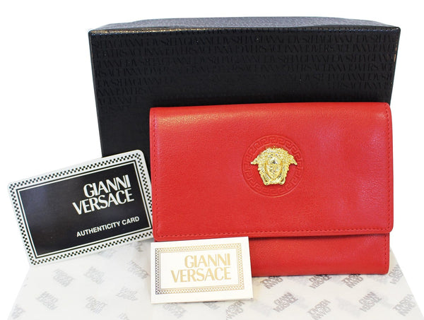 Versace Red Leather Women's Wallet E3382