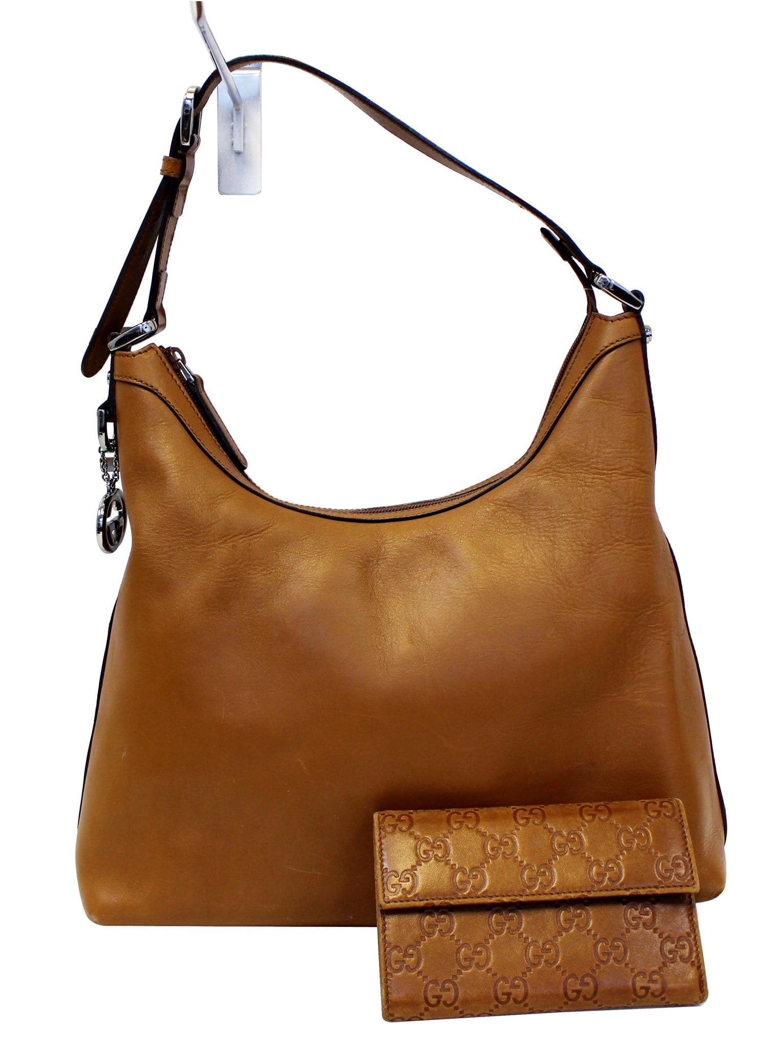 GUCCI Brown Leather Hobo Bag with Matching Wallet 79def846be