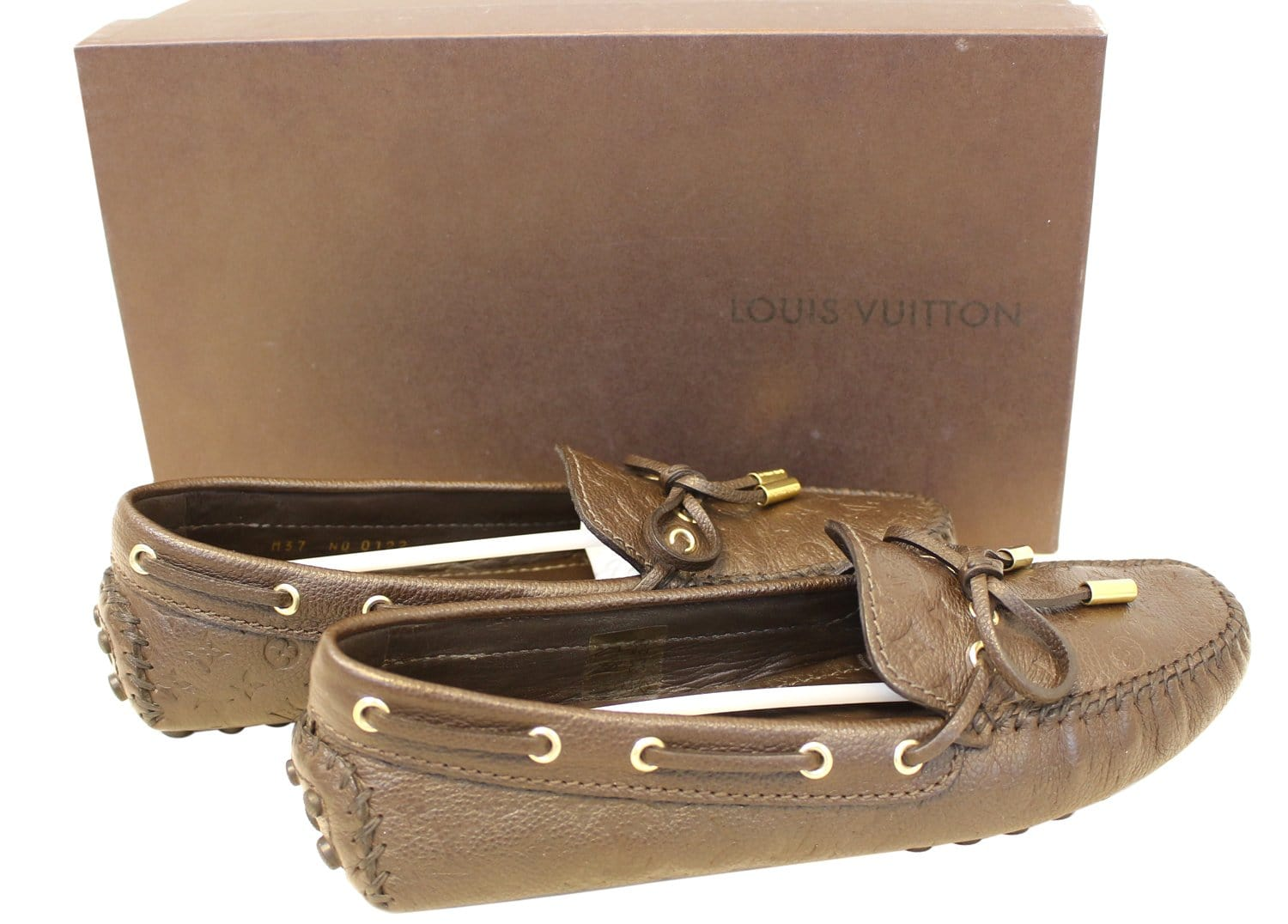 4aae81a33fe4 LOUIS VUITTON Gloria Flat Loafers Monogram Embossed Size 37
