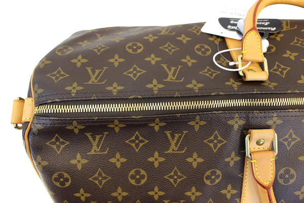 Authentic LOUIS VUITTON Monogram Canvas Keepall 60 Bandouliere Travel Bag E3349