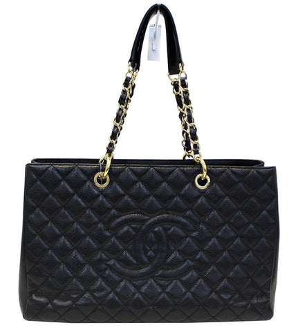 CHANEL Caviar Leather Black XL Grand Shopping Tote Bag