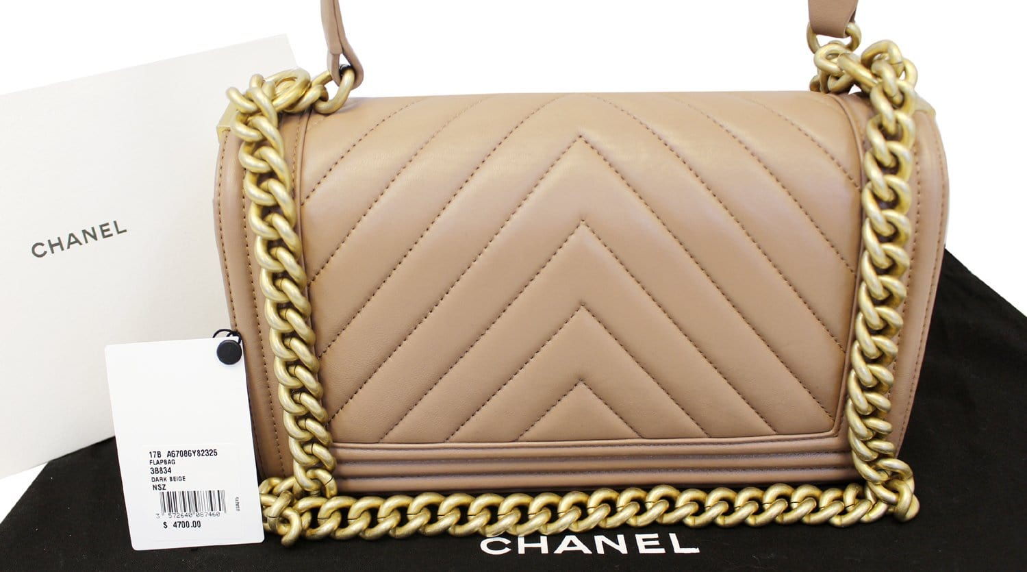 7f5eb9163c1f CHANEL Calfskin Chevron Quilted Dark Beige Medium Boy Flap Bag