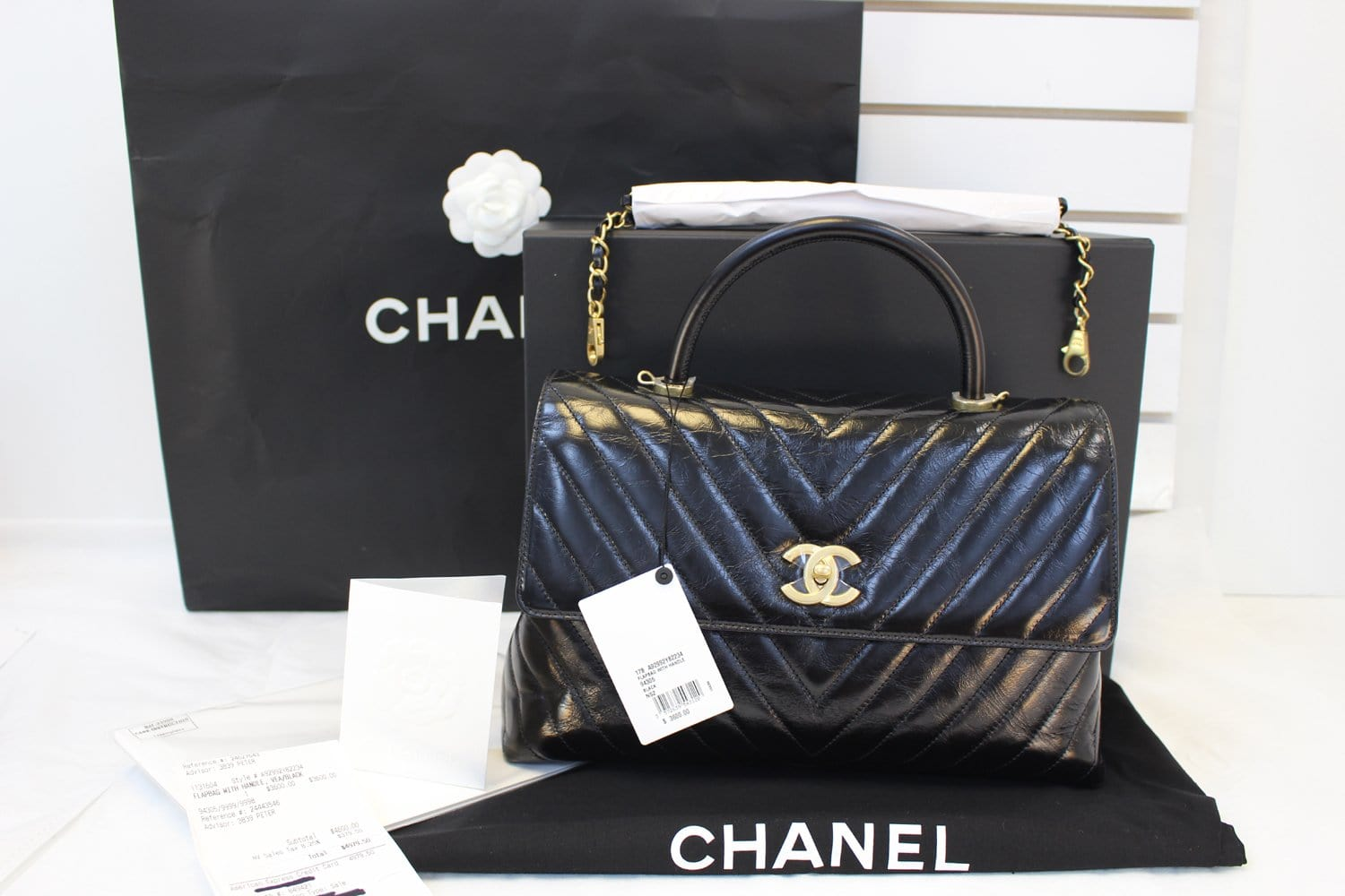 0f47b2493d8f7 Authentic CHANEL Black Quilted Lambskin Chevron Leather Top Handle Bag  TT1564