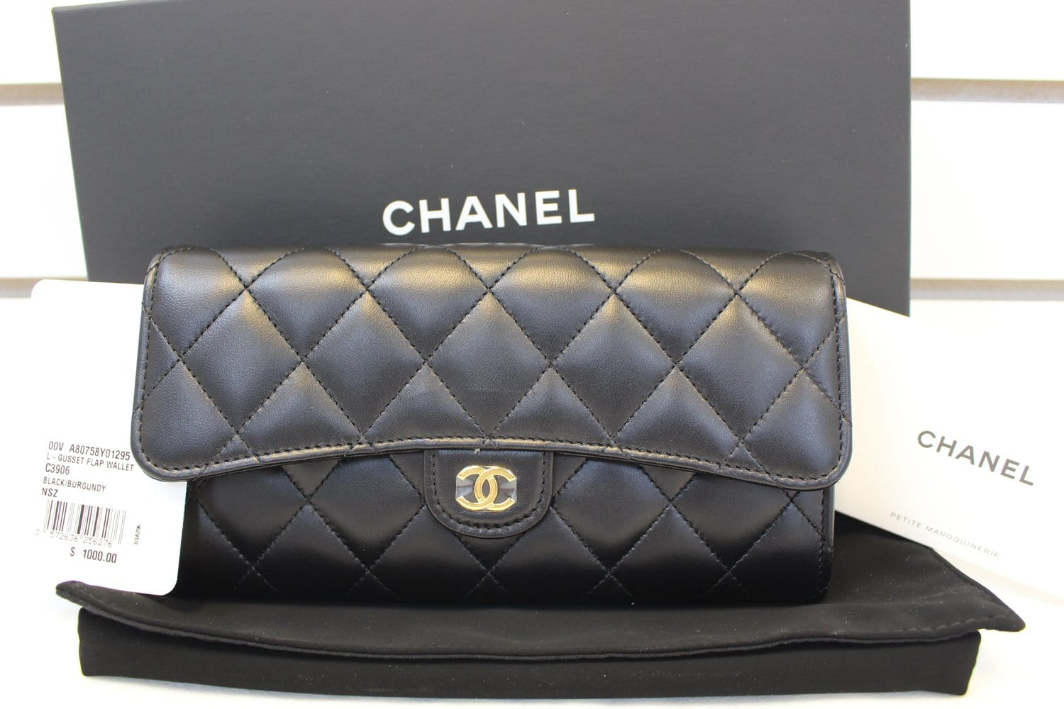 bd8a94a4b20a Authentic CHANEL Black Quilted Lambskin Leather Long Flap Wallet TT156