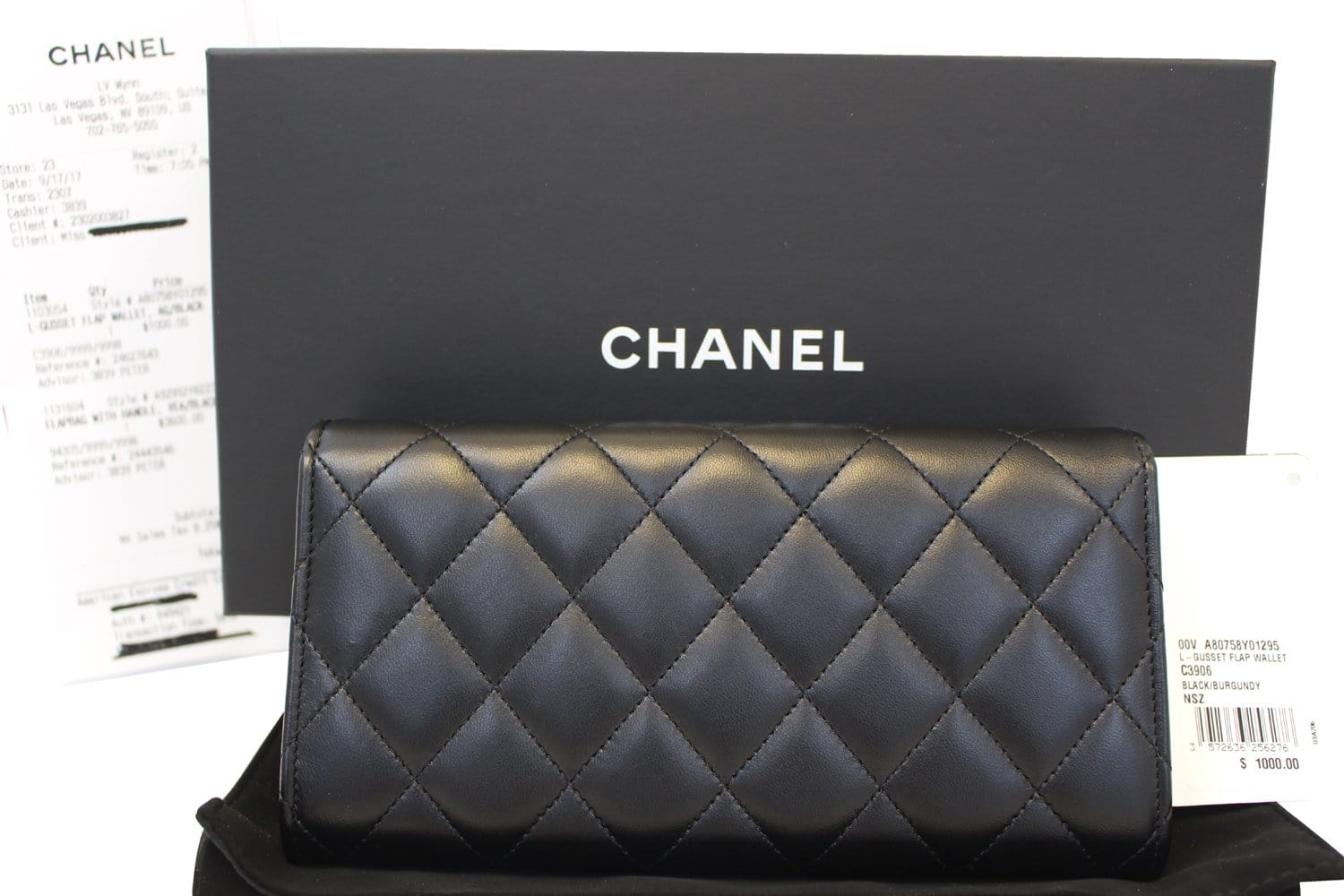 f8c62a6bb515 Authentic CHANEL Black Quilted Lambskin Leather Long Flap Wallet TT156
