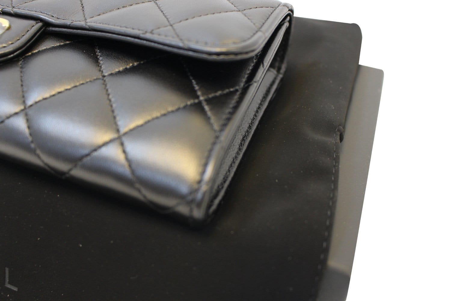 8473299d0b1b Authentic CHANEL Black Quilted Lambskin Leather Long Flap Wallet TT1565