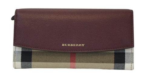 76ff1fe27297 Authentic BURBERRY Burgundy Leather Haymarket Check Continental Wallet  TT1566