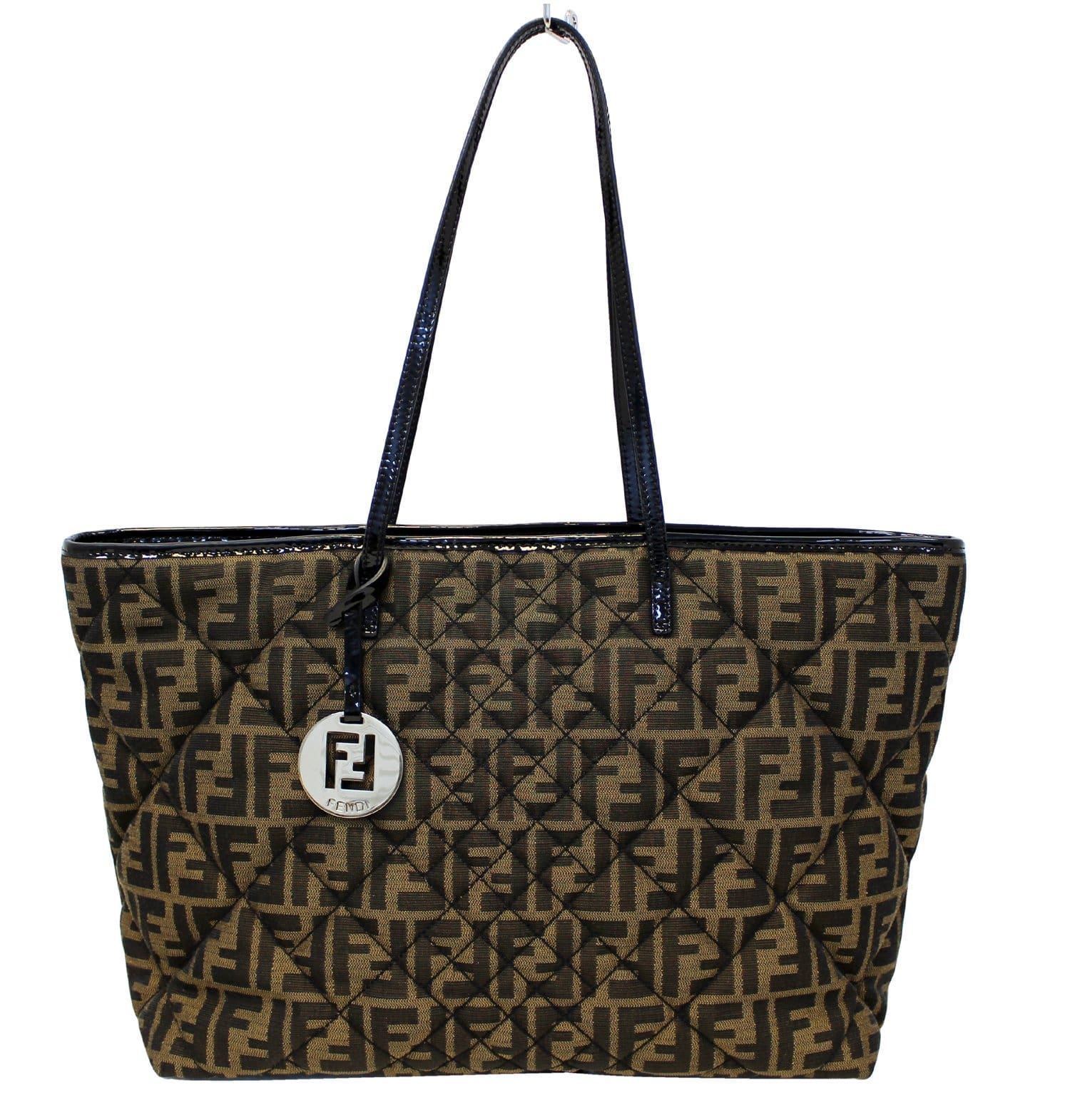 FENDI Tobacco Zucca Quilted Roll Tote Bag Black 5ab95ba79d