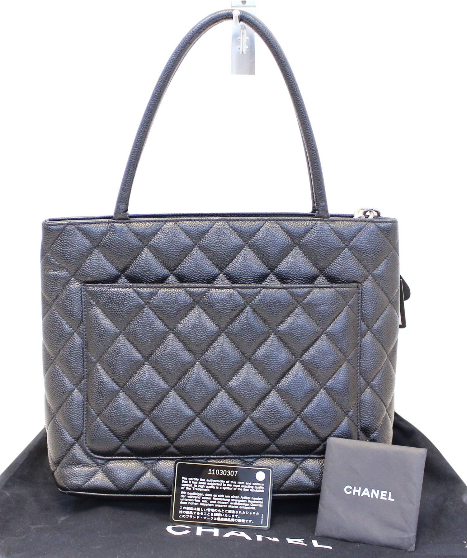 a83976623 CHANEL Black Quilted Caviar Leather Medallion Tote Bag