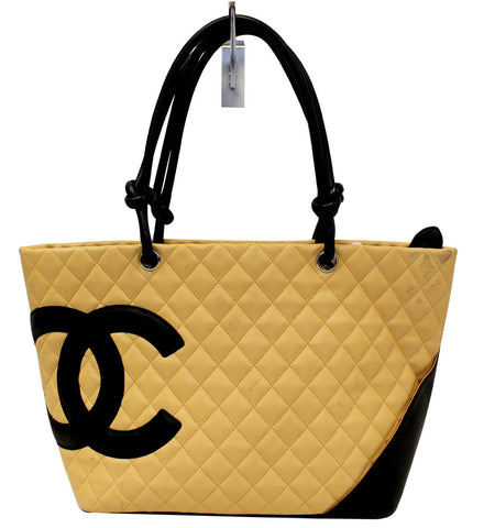 CHANEL Beige Quilted Leather Ligne Cambon Large Tote Bag